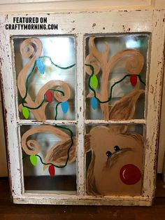 Old window reindeer painting for Christmas! Love this craft idea. Old window reindeer painting for Christmas! Love this craft idea. Christmas Window Decorations, Christmas Door, Rustic Christmas, Christmas Lights, Reindeer Christmas, Painted Windows For Christmas, Old Windows Painted, Painted Window Art, Reindeer Craft