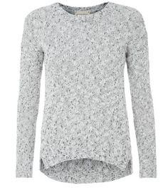 Grey Flecked Knit Split Side Jumper