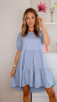 Simple Dresses, Cute Dresses, Beautiful Dresses, Short Dresses, Summer Dresses, Simple Dress Casual, Casual Dress Outfits, Mode Outfits, Chic Outfits