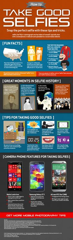 I would share content around Tips & Tricks to getting the most out of your wireless devices: When was the first selfie taken? Learn this fact and other tips for taking great selfies with this infographic from Verizon. Mobile Photography Tips, Photography Lessons, Iphone Photography, Photography Ideas, Taking Good Selfies, Best Selfies, Event Marketing, Online Marketing, Mobile Marketing
