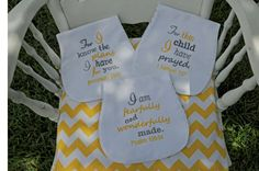 Set of Three Bible Verse Burp Cloths Gray and by SewYoungAtHeart