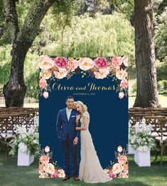Big, bold and beautiful, our customized navy backdrop with blush flowers set the scene for photography. Display your custom banner at the engagement party, rehearsal dinner, ceremony, reception, bridal shower or any other wedding event. Aso it can be customized for any other event!  Order includes