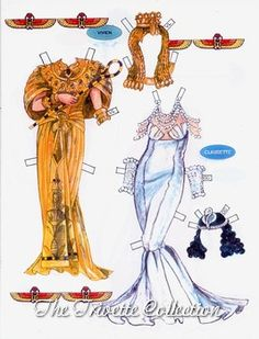 Elizabeth Taylor and Claudia Colbert paper doll clothes / taylortribute.com