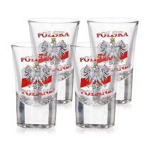 Kieliszki do wódki szklane POLAND FLAGA 4 szt. 35 ml