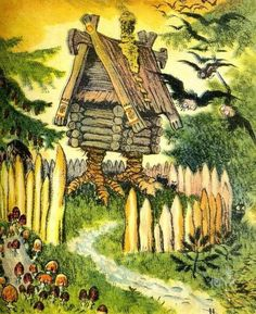 Baba Yaga's house, based on Sub-Carpathian Russian folklore about the witch Baba Yaga who sweeps the stars from the sky by day and hunts children at night. Folklore, Baba Yaga House, Russian Folk, Fairytale Art, Children's Book Illustration, Mythology, Illustrators, Fantasy Art, Fairy Tales