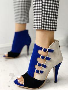 0da938c96aaa Colorblock Splicing Hollow Out Buckled Thin Heels Cute Heels