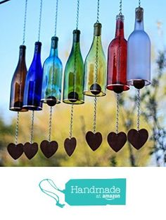 Wine Bottle Wind Chime - Garden Decor - Gift for Mom - Outdoor Decor - Patio Decor - Gifts for Her - Wine Decor - Wine Bottlechime - Garden from Bottles Uncorked Glass Bottle Crafts, Wine Bottle Art, Wine Bottle Chimes, Cutting Glass Bottles, Diy Plastic Bottle, Bottle Candles, Recycled Wine Bottles, Decorate Wine Bottles, Reuse Wine Bottles