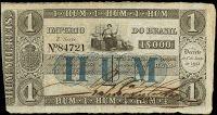 ANVERSO UNIFACE; Valor facial: 1000 réis; Ano de emissão: 1860; Órgão emissor: Tesouro Nacional; Empresa impressora: Perkins, Bacon & Petch; 3ª Estampa