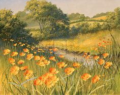 Mary Dipnall painting ~ California golden poppies meadow