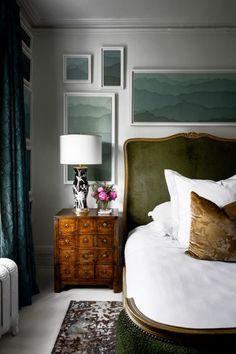 Bedroom Decoration Ideas with Shop The Look Pins for Interior Design Home Bedroom, Bedroom Decor, 1920s Bedroom, Bedroom Photos, Wall Decor, Framed Wallpaper, Zoffany Wallpaper, Green Wallpaper, Wallpaper Decor