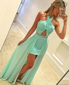 mint green prom dresses for party, halter prom dresses with beaded, beading prom dresses, long prom dresses for party, dresses for women, women's prom gowns