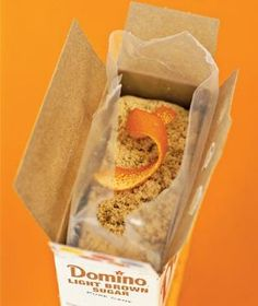 Avoid rock-hard brown sugar and preserve the moisture by dropping a three inch-long orange peel into the bag.