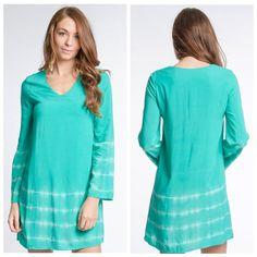 Jade tie dye shift dress Full lined dress, v neck Dresses Long Sleeve