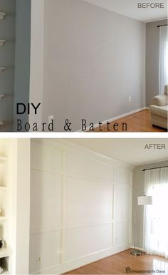 Home improvement diy projects board and batten 59 trendy ideas Home Remodeling Diy, Home Renovation, Home Decor Bedroom, Bedroom Wall, Diy Bedroom, Master Bedroom, Wainscoting Bedroom, Wainscoting Ideas, Bedroom Furniture