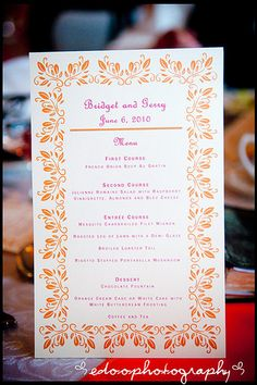 Etsy Menu Cards Better Together Events: Flashback Friday: Bridget and Gerry