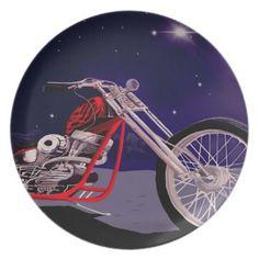 Motorcycle Moonlight Art Melamine Plate - gift for him present idea cyo design