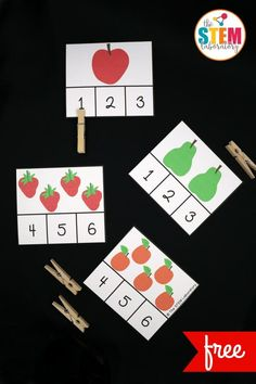 These Very Hungry Caterpillar clip cards are adorable! Such a fun way to practice the numbers Great for counting, number recognition and subitizing in preschool or kindergarten. kindergarten Very Hungry Caterpillar Clip Cards - The Stem Laboratory Toddler Learning, Preschool Learning, Toddler Activities, Preschool Activities, Kindergarten Math, Kindergarten Graduation, Numbers Preschool, Preschool Classroom, Classroom Ideas