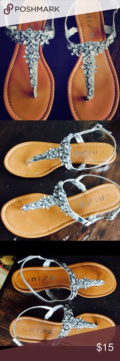 UNISA LUCCI RHINESTONE SANDALS UNISA LUCCI SIZE 7 RHINESTONE SANDALS! GGOOD CONDITION UNISA Shoes Flats & Loafers