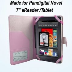 """Pandigital Novel 7 - Inch Color eReader Leather Case - Pink by PanDigital. $17.95. Made for Pandigital Novel 7"""" Color eReader. Made Of Fine Workmanship, Protects your tablet from ugly scratches, scuffs , dust and dirt.  Slots for Business Cards & Papers. Perfect for Business Professionals!  Magnetic Closure System - Also Available in Red or Black  The perfect case for your Pandigital Novel 7"""" Color eReader"""