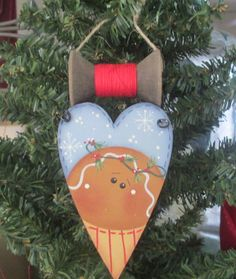 Gingerbread+Heart+Ornament+with+Wooden+Spool++by+WyliesWhimsicals,+$7.00