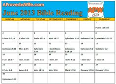 FREE Printable June 2013 Bible Reading Plan |1 Verse a Day - A Proverbs Wife