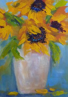 Sunflowers on Blue  5x7  Original Acrylic by KarenMargulisFineArt, $65.00