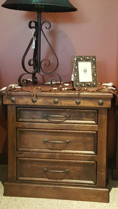 Handcrafted from solid alder wood and distressed to give it a more rustic look! Nightstand shown has honey stain and black glaze. Lodge Furniture, Western Furniture, Custom Furniture, Bedroom Furniture, 3 Drawer Nightstand, Mountain Style, Furniture Making, Glaze, Westerns
