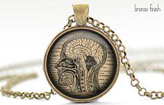 Brain Necklace Halloween Jewelry Human Anatomy by FrenchHoney, $14.50