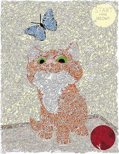 Kitten and butterfly, hand drawn maze. Maze Drawing, Rolling Ball Sculpture, Maze Book, Hand Drawn, How To Draw Hands, Kitten, Sculptures, Butterfly, Kids Rugs