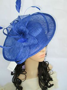 NEW SAPPHIRE SINAMAY & FEATHER FASCINATOR HAT.Shaped saucer disc,Wedding. | eBay