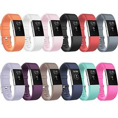 "Designed Replacement Wrist Bands for Fitbit Charge 2, not for Fitbit Charge, Charge HR or other Fitbit models Free size to slide with buckle: Small ( 5.9""-8.6"" ), Large ( 6.5""-9.0"" ) Variety of Colors: 12 plain colors available for Charge 2 wrist bands, black, white, blue, plum, blush pink, teal, tangerine, coffee, gray, pink,lavender,red; More colors and designs will come soon;"