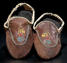 native american, Canada, Naskapi embroidered hide moccasins, thread-sewn with floral silk embroidery on vamps, late 19th century.