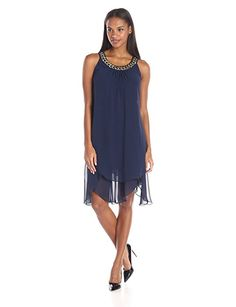 S.l. Fashions Women's Sl Gold Chain Neck Tier Dress, Navy, 6