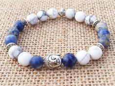 Sodalite Bracelet, Buddha Bracelet, Meditation Yoga Bracelet,Inspirational Men Stretch Howlite Bracelet Wrist Mala Gifts For Him