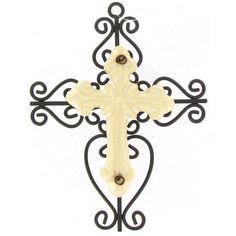 Brown & Cream Metal Cross with Ceramic Center
