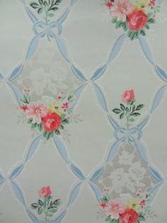 Great for a feminine powder room vintage wallpaper Retro Wallpaper, Fabric Wallpaper, Pattern Wallpaper, Iphone Wallpaper, Vintage Wallpapers, Wallpaper Ideas, Textures Patterns, Print Patterns, Vintage Paper