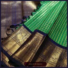 "Desire a vintage design? This ""Kottadi"" Checks Kanjivaram Silk Sari from Angadi Silks, is a classic treasure for all Sari Lovers."