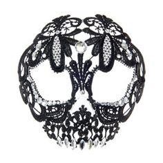 Masque motif tête de mort en dentelle noire