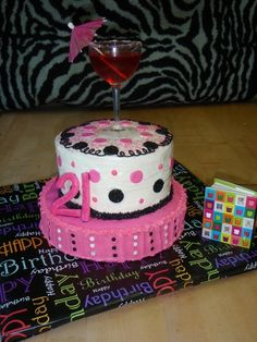 Happy 21st birthday cake with a jello shot in a real glass.  Custom cakes made from my home based business in Lacey, WA.