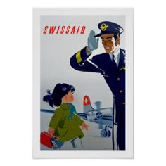 Kleines Mädchen Swissairs Poster