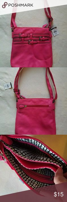 "NWT Black Rivet Pink Leather Purse NWT Pink Leather Purse , 10"" L x 10"" H , 2 zippered pockets as well as a center , ajustable strap Black Rivet Bags Shoulder Bags"
