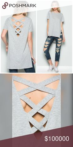 Two Tone Cage Detail Side Slit Tunic Adorable side slit Heather gray tunic with cage back and side slits!- 100% cotton Tops Tunics