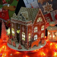 Gingerbread house. Easy Gingerbread House, Gingerbread Castle, Christmas Gingerbread House, Gingerbread Cookies, Christmas Cookies, Christmas Treats, Stained Glass Church, Stained Glass Art, Candy Factory