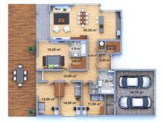DŮM NA KLÍČ 12 - PŮDORYS - 205 metrů - 4+2 včetně kryté garáže - Zděné domy na…