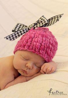 The Bradens: Newborn Pink Houndstooth Hat