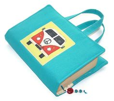 Book Cover Bag VW Camper Van Turquoise by WhimsyWooDesigns on Etsy, £16.00