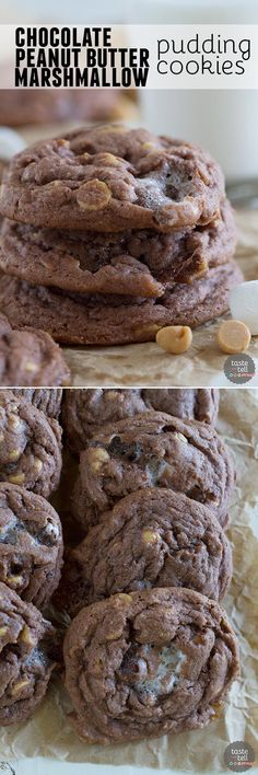 Pudding mix is the secret ingredient that keeps these Chocolate, Peanut Butter and Marshmallow Pudding Cookies super soft and tender.: