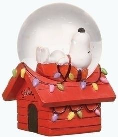 "Club Pack of 16 Peanuts Christmas Snoopy Snow Globe Glitterdomes by Roman. Save 12 Off!. $134.99. From the Peanuts CollectionItem #36548Officially licensed merchandiseStep back in time with your favorite holiday cartoon charactersGlitterdomes feature Snoopy on top of his doghouse which is decorated in festive Christmas lightsDimensions: 2.75""H x 1.75""W x 1.75""DMaterial(s): resin/glassPack includes 16 of the item shown"