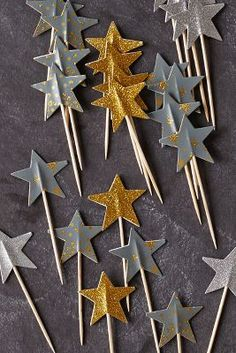 Wishing Star Food Toppers Star Food, Golden Birthday, Festa Party, Star Wars Birthday, Twinkle Twinkle Little Star, New Years Eve Party, Holiday Parties, Diy For Kids, Party Time