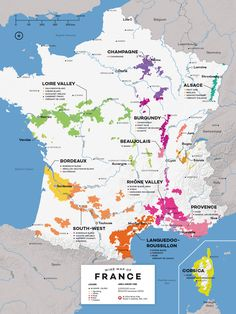 Jumpstart your French wine knowledge with this French Wine Map and an overview of its 11 wine region - plus a section to highlight up-and-coming areas! French Wine Regions, Wine Folly, Wine Facts, Loire Valley, Sauvignon, Wine Education, Wine Guide, In Vino Veritas, Wine And Beer